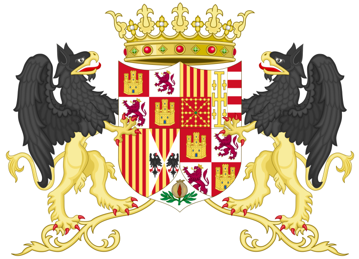 2095px-Coat_of_Arms_of_Ferdinand_II_of_Aragon_with_supporters_(1513-1516).svg